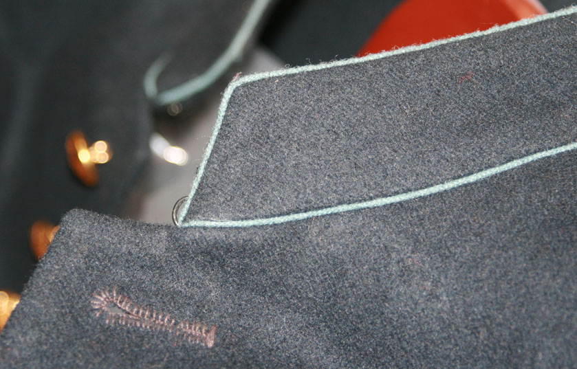 Collar detail of our enlisted frock coat