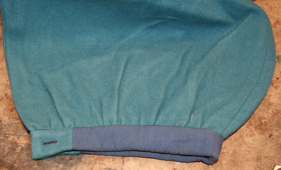 Cuff area, showing blue cotton lining material