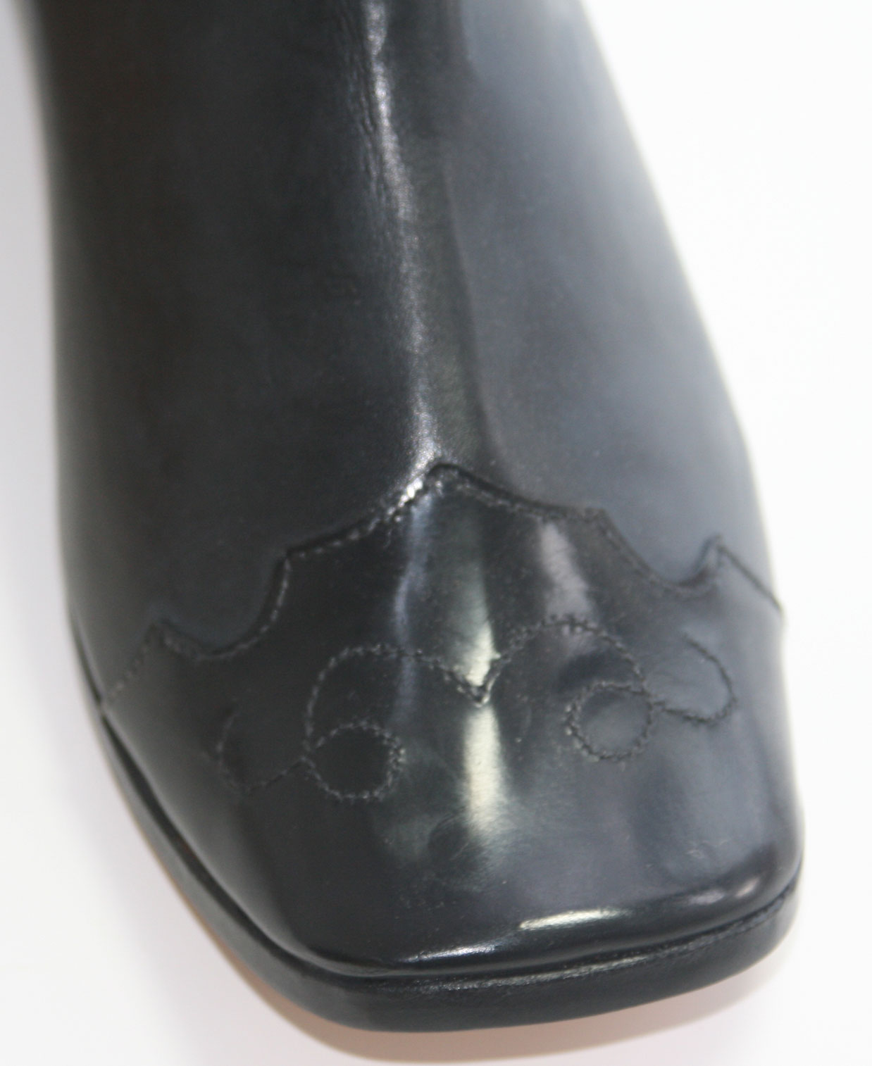 Patent leather toe cap