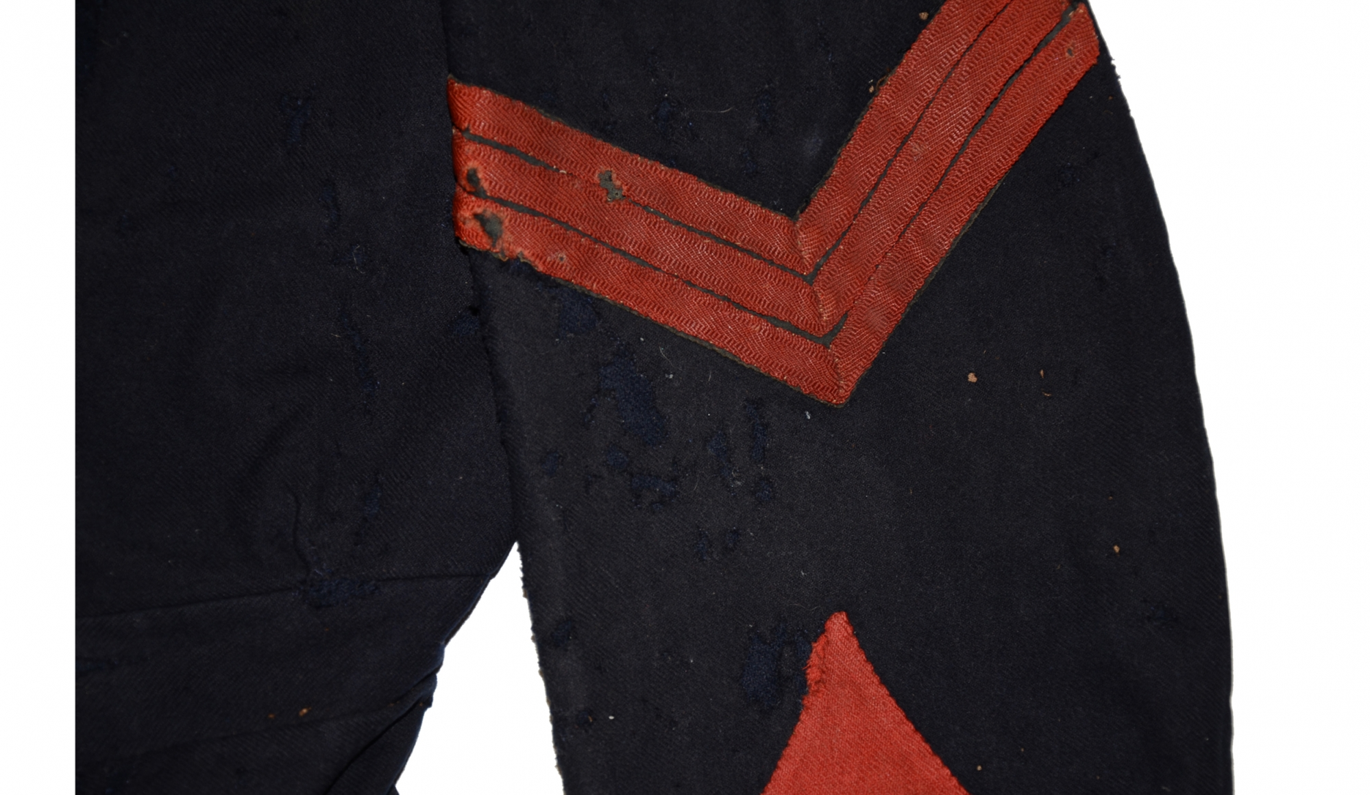 """railroad track"" tape present on a pair of sgt chevrons on 14th brooklyn jacket"
