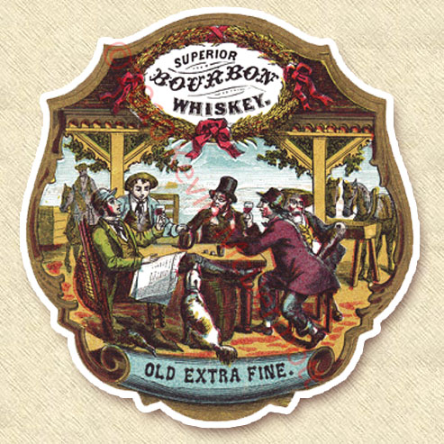 "full-color label ""Superior Bourbon Whiskey."""
