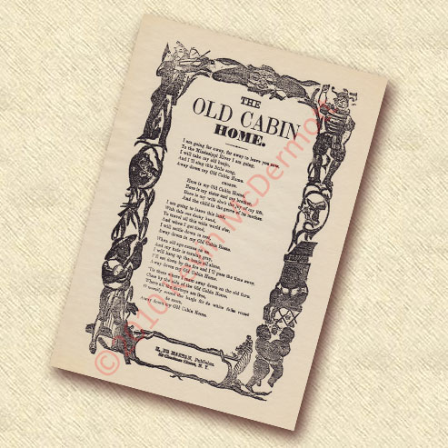 The Old Cabin Home Ballad Sheet