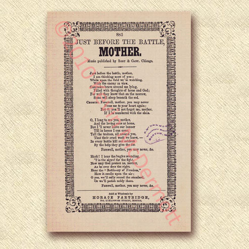 Just Before the Battle, Mother Songsheet