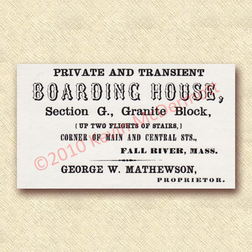 Private and Transient Boarding House Card
