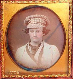 Original Daguerrotype showing plaid mechanics cap