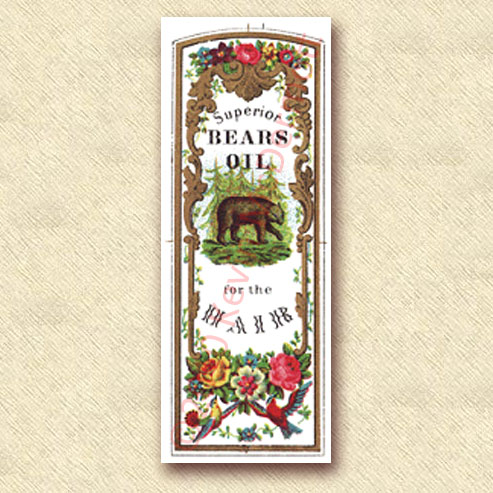 "full-color label ""Superior Bears Oil for the Hair."""