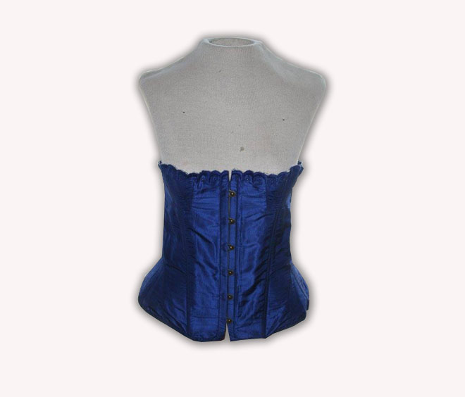 1855-1865 Embroidered Top Corset in blue silk