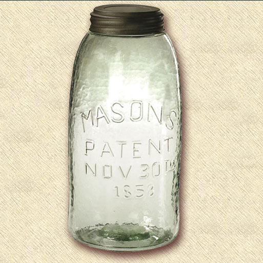 1858 Mason Jar, Half Gallon Size