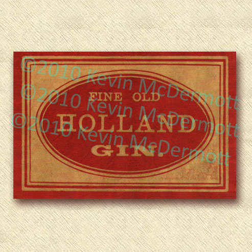 "full-color label ""Fine Old Holland Gin."""
