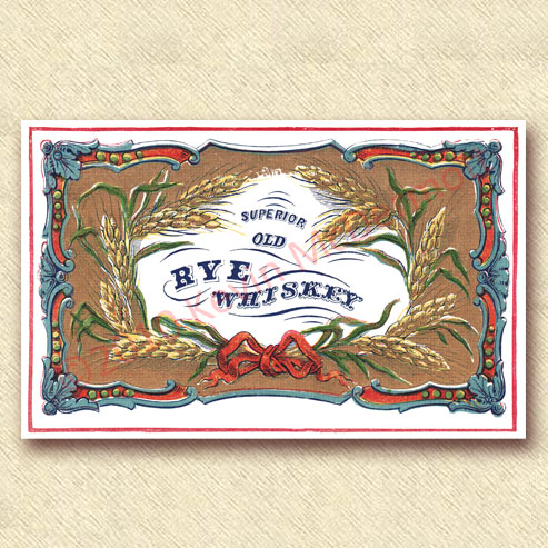 "full-color label ""Superior Old Rye Whiskey."""