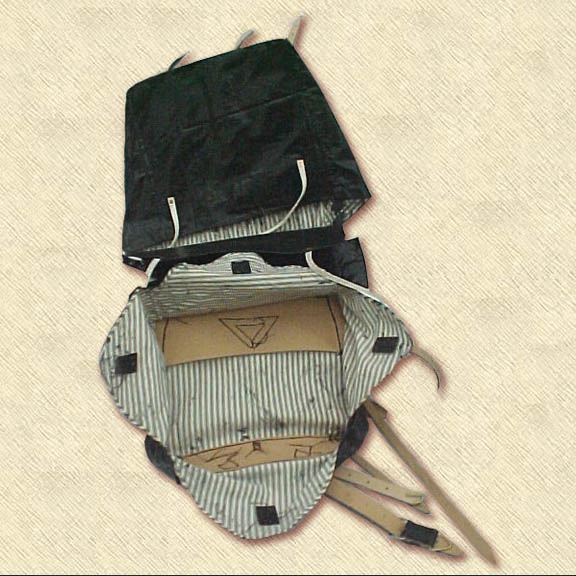 Double Bag knapsack of striped ticking