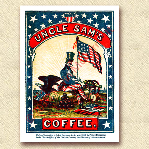 "full-color label ""Uncle Sam's Coffee."" (1863)"