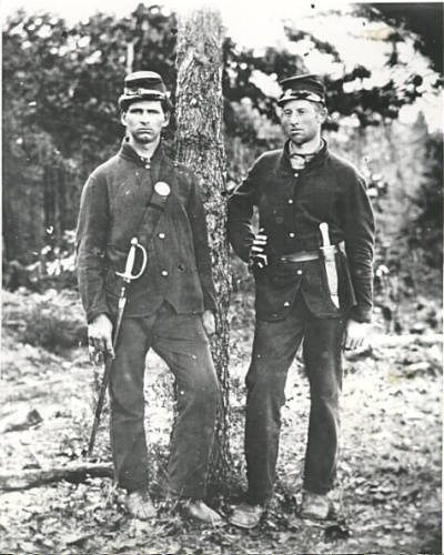 Two bandsmen of the 4th Michigan Infantry in Sack coats