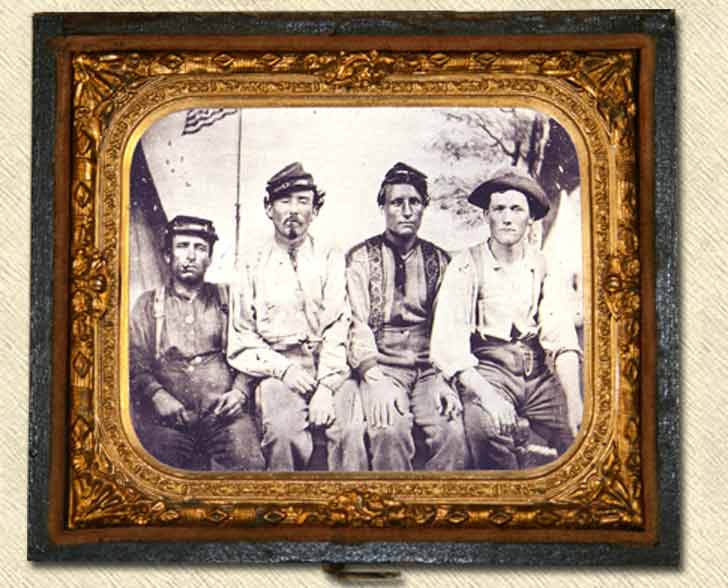 Coatless Union soldiers showing their suspenders