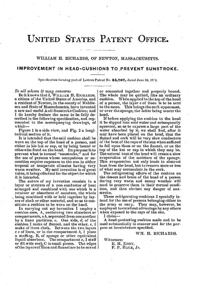 Richards Anti-Sunstroke Cushion Patent Abstract