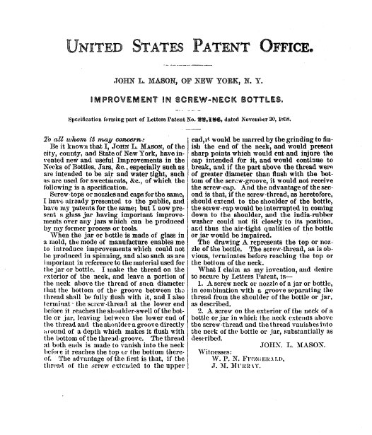 Mason's Patent Abstract