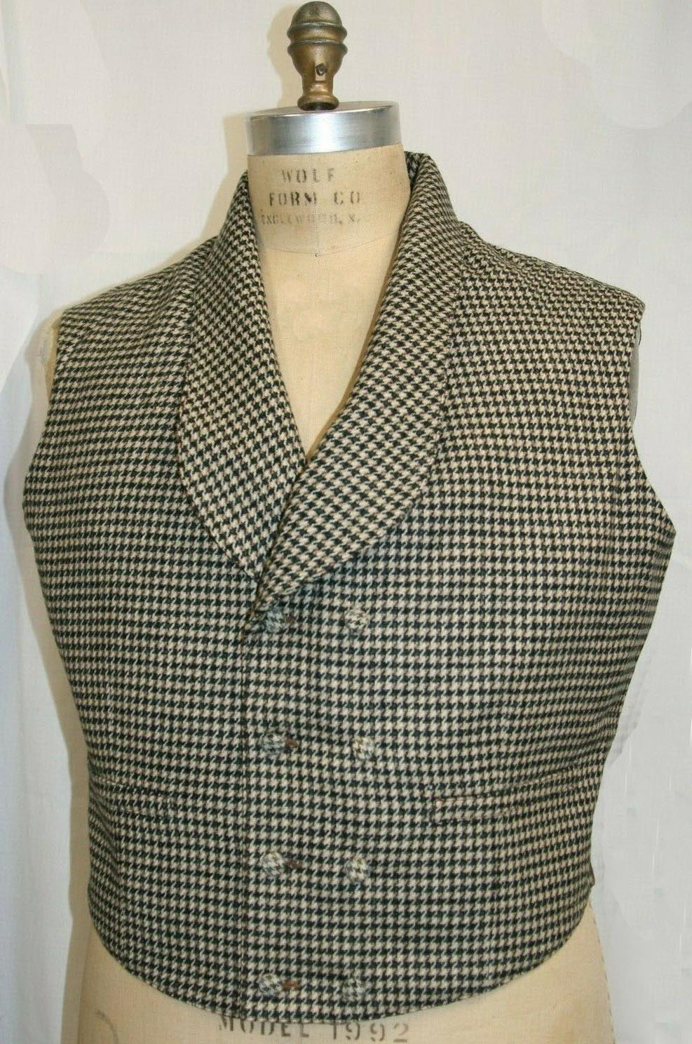 Double Breasted Houndstooth Vest size 46.