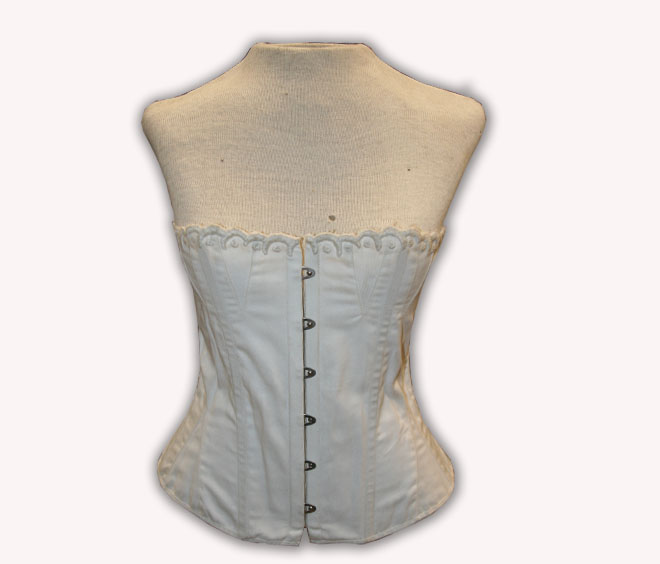 1855-1865 Embroidered top Corset in white coutil
